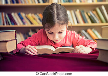 Small Girl Reading Books