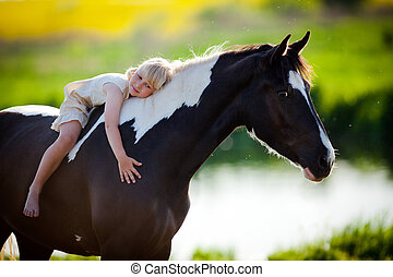 Small girl riding a horse - Child sits on a horse in meadow...