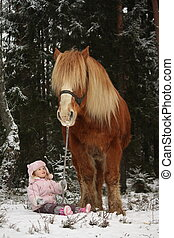 Small girl sitting in the snow and big palomino horse ...
