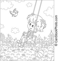 Smiling little child playing with a merry flying birdie on a toy swing in a summer park of a pretty town on a sunny warm day, black and white vector cartoon illustration for a coloring book page