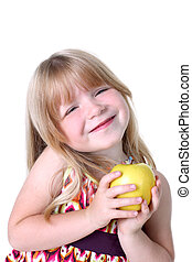 small girl with apple isolated on white
