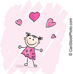 Doodle cartoon character. Loving girl with hearts. Vector Illustration.