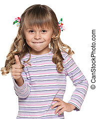 Small girl with her thumb up