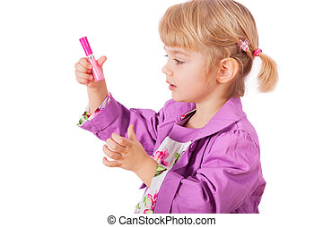 Small girl with lipstick