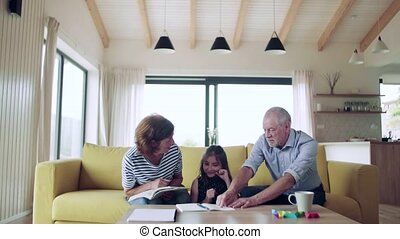 Small girl with senior grandparents indoors sitting on sofa...