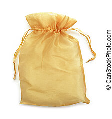 small gold fabric bag isolate on white.