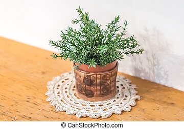small green plant in decorative pot on wooden table