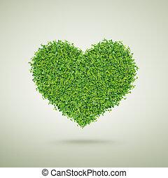 Small green plants heart shape, happy valentine's day