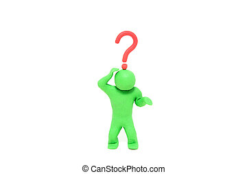 small green plasticine puppet with a question mark over the head