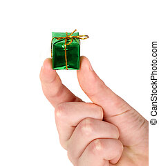 Small green present in man's hands, isolated on white