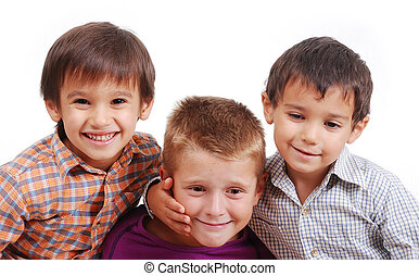 Small group of children, happiness, isolated