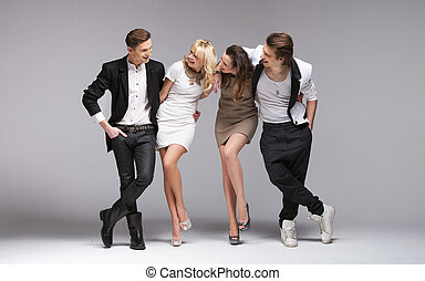 Small group of laughing models - Small group of laughing ...
