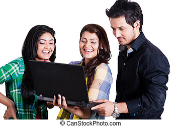 small groupp of happy friends using laptop, group of happy...