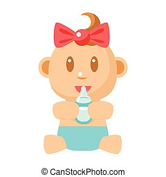 Small Happy Baby Girl Sitting Holding Milk Bottle Vector Simple Illustrations With Cute Infant