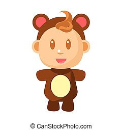Small Happy Baby Standing In Brown Bear Costume Vector Simple Illustrations With Cute Infant