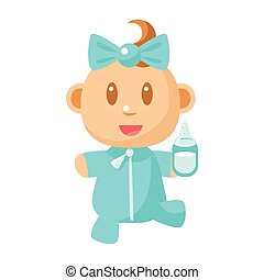 Small Happy Baby Walking In Blue Pajama Holding A Milk Bottle Vector Simple Illustrations With Cute Infant