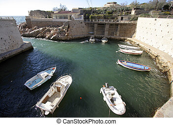 small harbour calanques - a small port in the calanques, ...