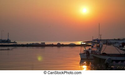 Small harbour quiet scene at sunset - Cinemagraph - Sunset...