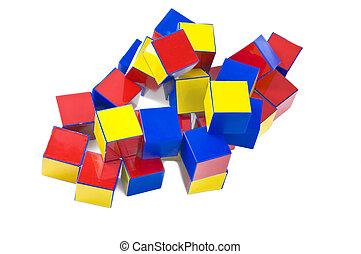 small heap of color plastic bricks toys