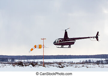 Small helicopter arrived at the airport