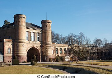 Small historic building in Karlsruhe castle gardens, Germany