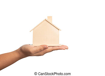 Small home model on the hand of women isolated on white background with clipping paths