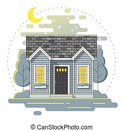 Small house and beautiful rural landscape night scene background in flat line art style 4