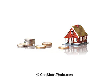 Small house and coins. - Small house and euro coins over...