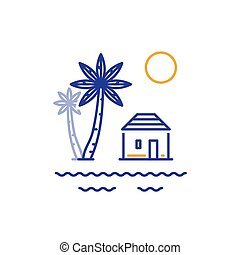 Small house and palm trees, bungalow by river or sea