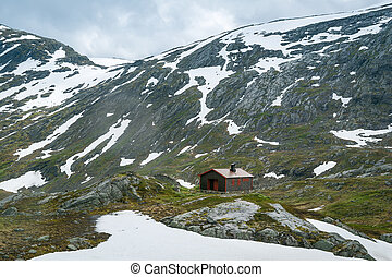 Small house at Dalsnibba plateau, Norway
