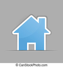 Small house - The small blue house on a grey background. A...