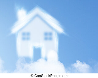 Dream of homeownership - small house from clouds, Dream of...
