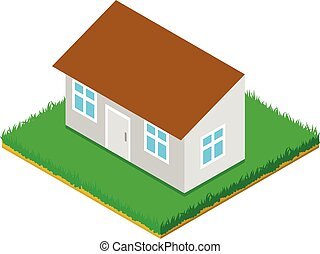 Small house icon, isometric style