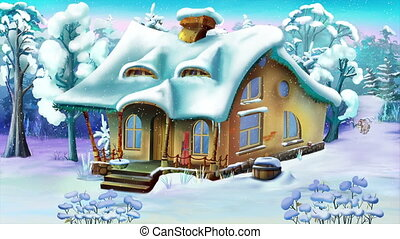 Small House in a Winter Day