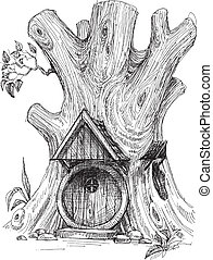 Small house in tree hollow sketch