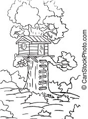 Small house in tree sketch