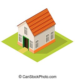 Small house isometric view, suburban estate