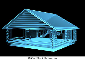 Small House, Log Cabin (3D xray blue transparent)