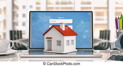 Small house on a laptop. 3d illustration