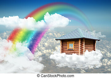 Small house on cloud in sky