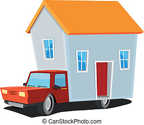 Illustration of a cartoon mobile home concept with truck carrying small house on trailer