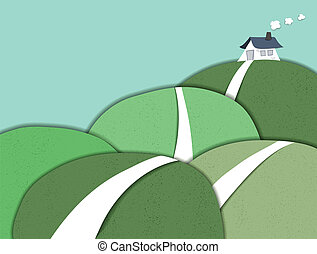 Small house on the hill, paper cut style