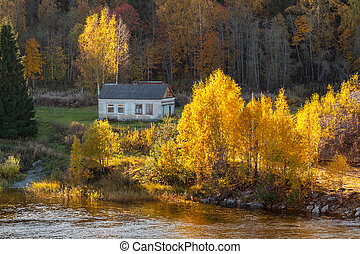Small house on the river bank surrounded by autumn forest. Autumn Landscape - Image