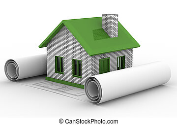 Small house on  white background. Isolated 3D image