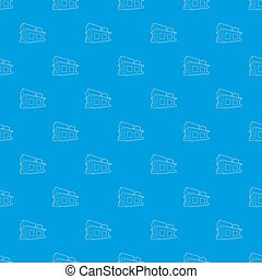 Small house pattern seamless blue