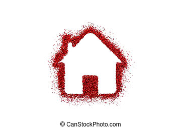 Small house shape on red glitter isolated on white background