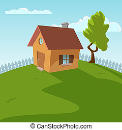 Small house cartoon vector illustration.