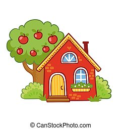 Small house stands next to an apple tree on a white background.