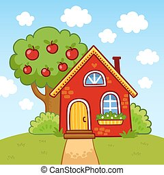 Small house stands on a hill next to an apple tree.