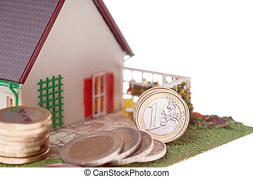 small house with euro coins